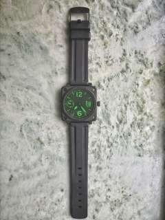 BJ 限量版橡膠帶綠字手動機械錶