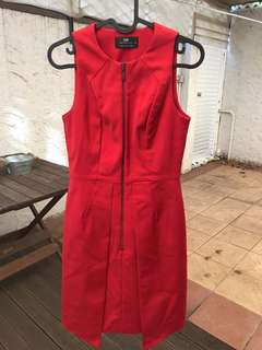 Cue Red Zip Up Dress Size 6