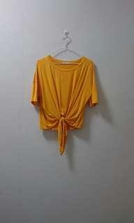 Mustard Yellow Tie Front Top