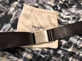 Prada Black Leather Silver Buckle Belt Men's size 85