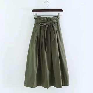 Brand new Khaki Green Midi Flare Dress