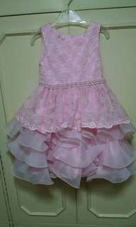 Pink formal dress with petticoat for kids