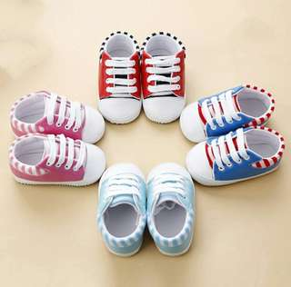 🍀Baby Girl Boy Stripes PU Shoes🍀