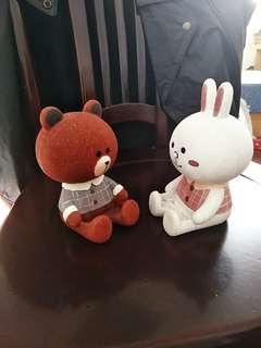 🚚 #韓國進口熊大兔兔限量系列陶瓷公仔