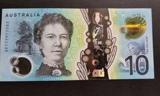 澳洲 新鈔 塑膠 Australia 10 蚊 Ten Dollars 紙幣