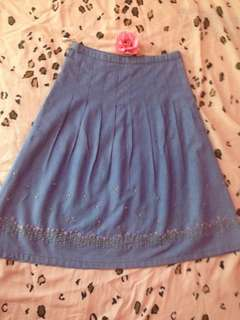 Denim Skirt Embroided