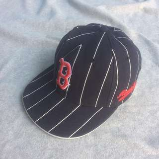 MLB RED SOX NAVY LINED WHITE HAT