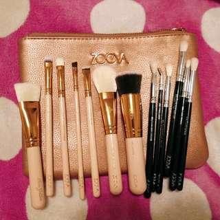 Zoeva 11 Brushes Set + Pouch Golden Rose + Black Eye Set Kit Makeup Brands New