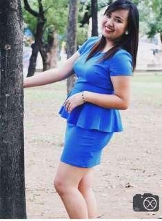 F21 blue peplum dress