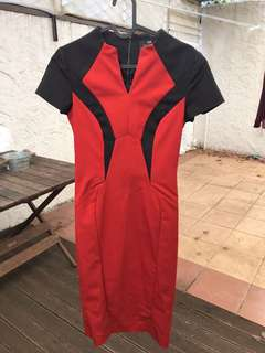 Cue red and black dress size 6