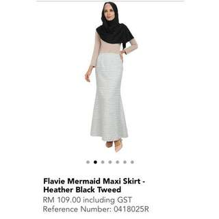 POPLOOK FLAVIE MERMAID MAXI SKIRT - HEATHER BLACK TWEED