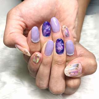 (Homebase Nail Salon) Gelish Manicure w Nail art