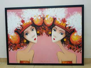 Bali girls painting with frame