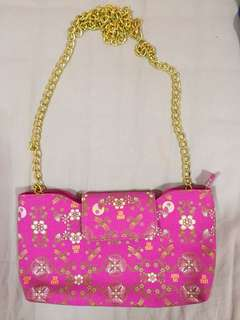 Anna Sui pink purse with gold chains