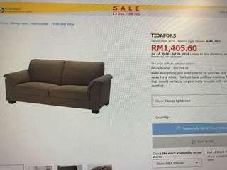 Ikea 3 seat light brown(free dlvry)