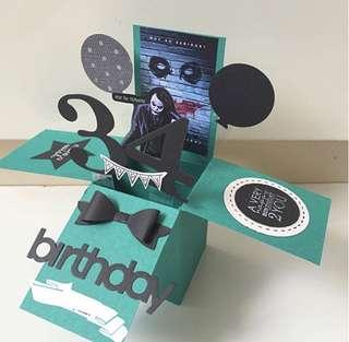 Dark knight joker handmade birthday pop up card