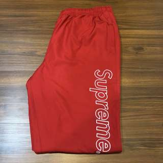 Supreme x Lacoste 17SS Track Pant Red 紅色 風褲 Logo
