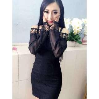 Fashion Crochet Lace Dress (Black)