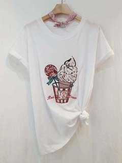 正韓❤️質感釘珠亮片棒棒糖冰淇淋棉質上衣🌟