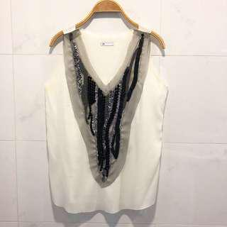 Stylish sequin white top
