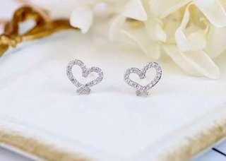 925純銀鋯石耳環 Heart-shaped!