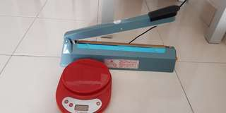 Plastic sealer & weight machine