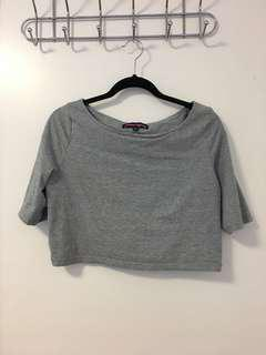 Grey boat neck crop