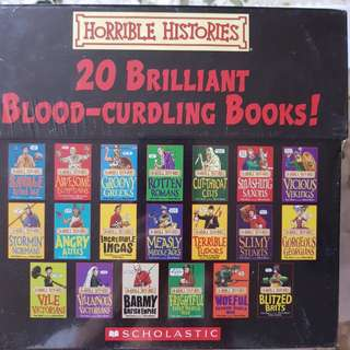 New sealed in box. 20 horrible histories blood curdling books.