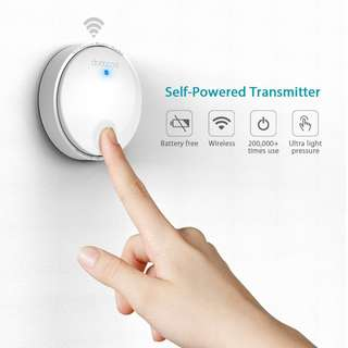 dodocool Self-powered Battery-free Wireless Doorbell Kit with 1 Battery-free Transmitter Push Button and 1 Plug-in Receiver CD Quality Sound 38 Melodies 4 Volume Levels
