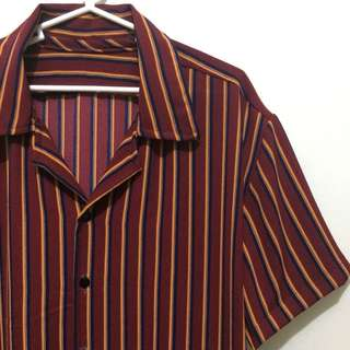 Maroon Black Mustard Stripes Cuban Buttondown Polo