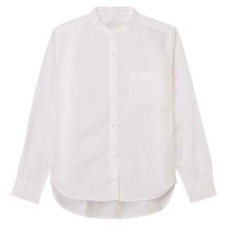 MUJI無印良品 女有機棉水洗平織布白襯衫(立領)