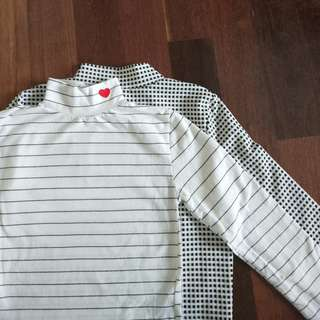 Long sleeve pinstripe/checked mock neck tops