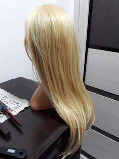 Hair Wig With Bangs (Blonde Colour)