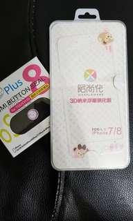 iphone7/8手機mon貼屏幕保護貼卡通送埋botton貼