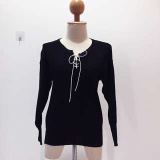 🆕BRAND NEW Round Neck Lace Up Knitted Long Sleeve Black Sweater Top