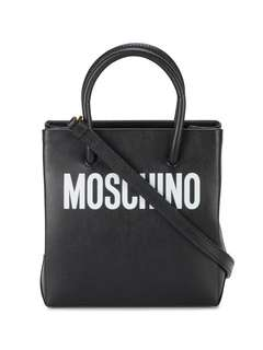 Pre order Moschino black logo print leather tote bag