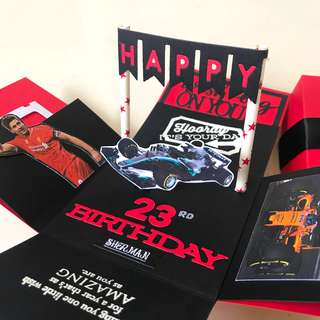 Happy 23rd Birthday Explosion Box Card in red and black