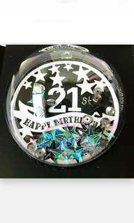 Happy 21st Birthday Globe Explosion Box Card