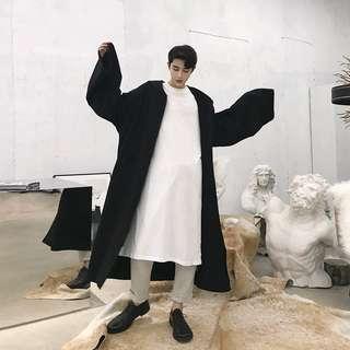 🚚 黑色連帽外套 情侶外套 寬鬆拉鍊外套暗黑原宿斗蓬外套 超長版外套