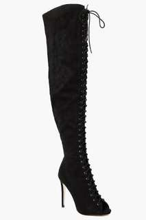 Lace up peeptoe thigh high boots