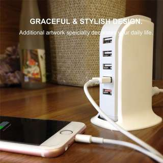 Portable Cell Phone 30W/6A 5 Port Charging USB Wall Charger Adapter Desktop Hub