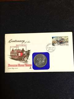 Isle of Man 1976 Centenary of Horse Tram One Crown Coin Cover FDC stamp