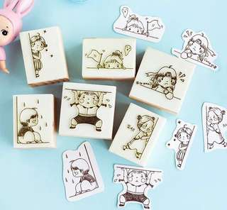 (PO) Girl's Daily Mood Wooden Stamp