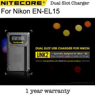 🚚 Nitecore UNK2 Nikon EN-EL15 ENEL15 Dual Slot USB Travel Battery Charger Fast Charging