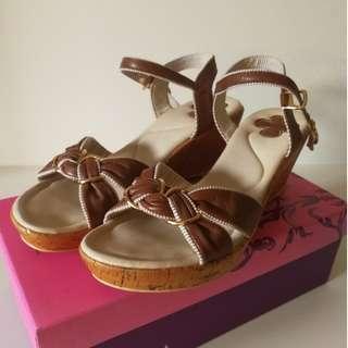 Forleria Brown Bow Wedge Sandal Beige Heel Strap