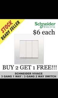 BUY 2 GET 1 FREE!!! Schneider Vivace KB33/1 Three Gang One Way Switch.