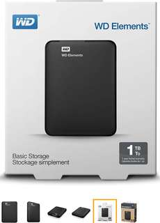 WD ELEMENT 1TB USB 3.0 & 2.0  EXTERNAL HARD DRIVE