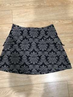 Vintage dangerfield brocade mini skirt black and dark brown/beige