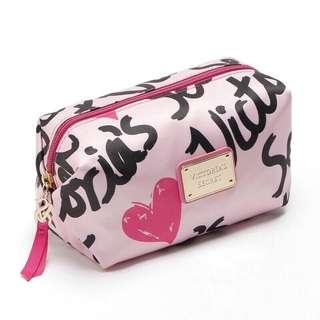 Victoria's Secret Pink Black Cosmetics Makeup Bag