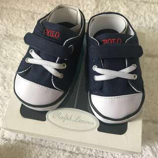 🚚 BN Ralph Lauren Baby Boy Navy Crib Shoes with Gift Box! US 4 for 13cm feet!